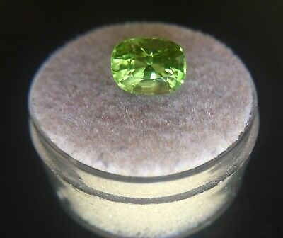 Vivid Green Peridot 2.54ct Cushion Cut UNTREATED Loose Gem