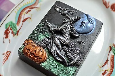 Witch Soap - A Halloween Soap - Handmade Soap - Black Color with Silver Witch