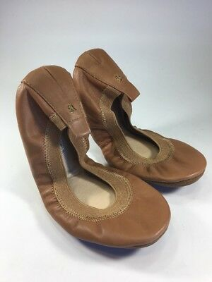 "Yosi Samra NEW ""Samara"" Tan Soft Leather Foldable Ballet Flats Womens Size 5 M"