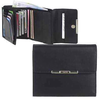 Esquire Ladies Wallet Leather Wallet Black with Rfid Protection 12 Card Sections