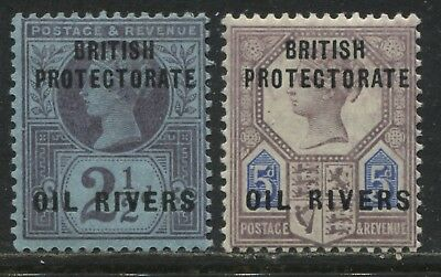 British Protectorate Oil Rivers overprinted on QV 2 1/2d & 5d mint o.g.