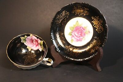 L M RoyalHalsey Very Fine China Tea cup & Saucer Footed Rose over black and gold