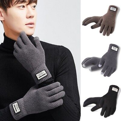 2018 Mens Full Finger Warm Kint Fleece Lined Thermal Touch Screen Thermal Gloves