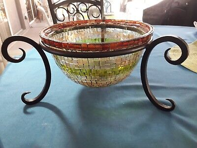 Art Deco Style Large Stained Glass Mosaic Bowl Vintage W/Metal Stand Beautiful!!