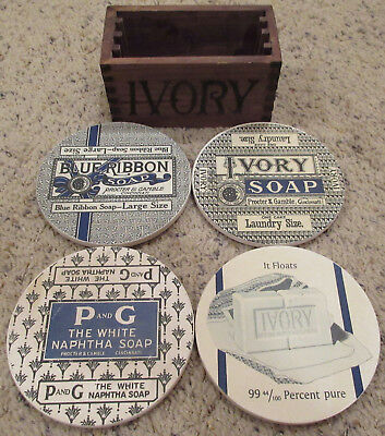 P&G Procter and Gamble Ivory Soap Sandstone Coaster Set of 4 w/ Wooden Holder