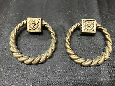 2 Vintage Drawer Solid Brass  Ring Pull  Replacement Handles  2.5 Inches