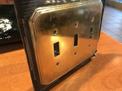 Vintage Polished  Brass Triple Switch Plate Cover American Tack Hardware