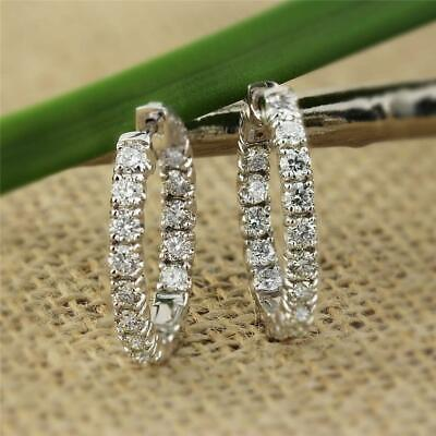 Delicated 1.30Ct Round VVS1/D Diamond Huggie Hoop Earrings 14K White Gold Finish