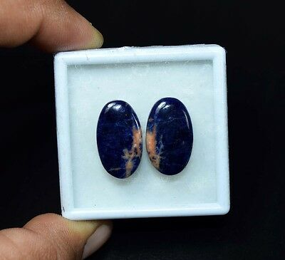 20.25 Cts. 100% Natural Pair Of Multi Sodalite Oval Cabochon Loose Gemstones