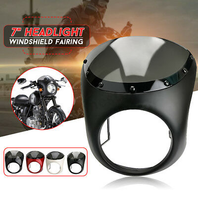 """7"""" Front Motorcycle Headlight Handlebar Fairing Windshield For Harley Cafe Racer"""