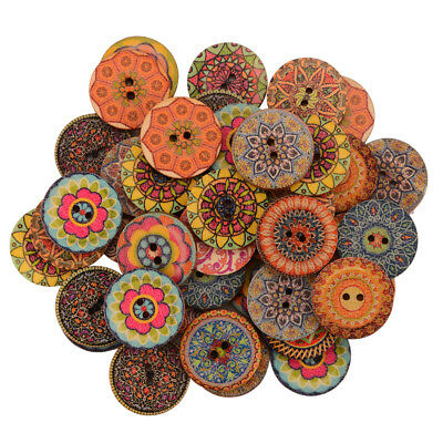 100x Vintage Handmade 2-Hole Wooden Buttons Sewing Scrapbooking DIY Coat Craft