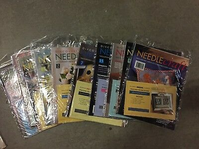 Great NEW lot of 9 x DISCOVERING NEEDLECRAFT Magazines with their free gifts