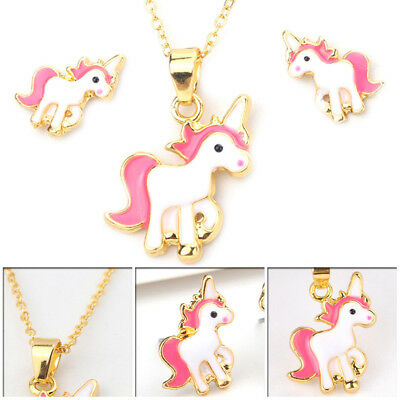 Childrens Kids Girls Pink Unicorn Necklace Earring Set Brand New Jewellery Gifts
