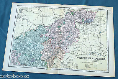 NORTHAMPTONSHIRE  -  Original Large Antique County Map -  BACON , 1897.
