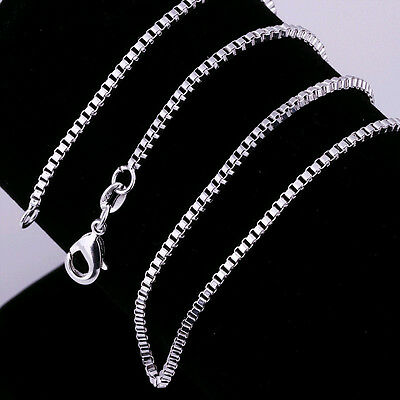Hot 1PCS wholesale 925Sterling Solid Silver 2MM 16-24 Inches Box Chain Necklace