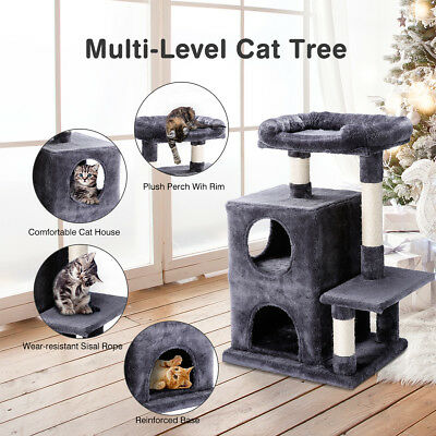 112cm Cat Scratching Tree Post Scratcher Pole Toy Pet Condo House Furniture Gray