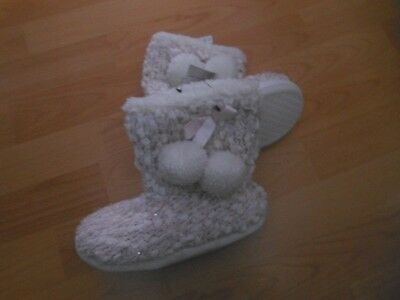 Bnwts Next Girls Pink/White Knitted Slipper Boots Ideal for Winter  UK 11 & 12