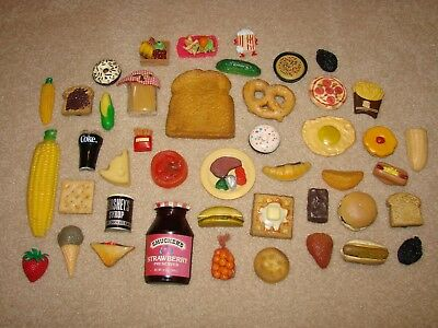 Vintage Refrigerator Magnet Lot - Play Food/Fruit - 44 Pieces - Nice Collection
