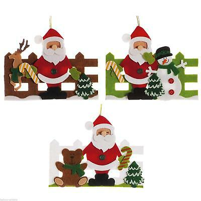3 Merry Christmas Party SANTA SNOWMAN Fence Felt Hanging Tree Decorations