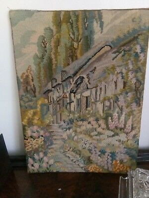 Vintage needlepoint tapestry large . Country farmhouse shabby chic picture flora