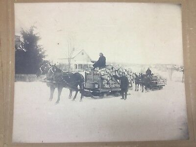 Large Antique Cabinet Photo Of Two Horse Drawn Firewood Sleds