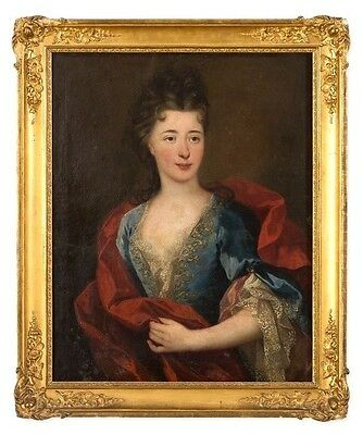 Amazing Portrait of a Lady Antique Oil Painting 18th Century Gold Frame