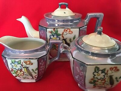 Vintage Japanese Porcelain Lusterware 3 Piece Tea Set With Bird & Floral Pattern