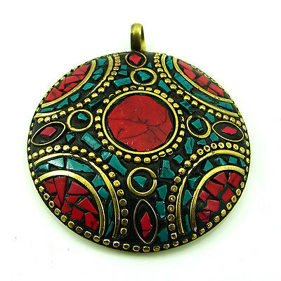 Tibetan Solid Brass Turquoise & Red Coral Gemstone Vintage Nepali Pendant 1738