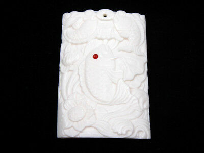 Solid Bone Highly Detailed Hand Carved Pendant Carp Fishes & Lotus #12011809