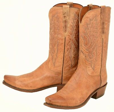 95cf0f975a8 323 NEW LUCCHESE 1883 Tan Burnished Ranch Hand Cowboy Boots Men's 8 ...