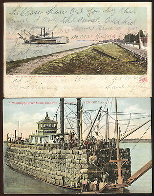 Pair New Orleans, La. Picture Post Cards, Steamboats Loaded With Cotton, Levee