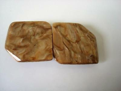 Vintage Art Deco Marbled Tan Celluloid Plastic 2 Piece Buckle Clasp Germany