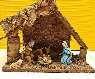 SALE🌲Vintage Antique Small Wooden Lighted Manger Made in Italy Nativity Set 🌲