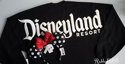 Disney Black Polka Dot Red Bow Minnie Ears Black Disneyland Spirit Jersey XS