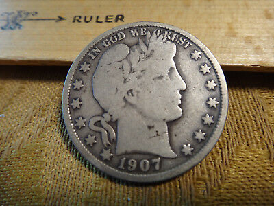 1907 United States Barber Silver Half Dollar 50c - Free S&H USA