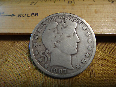 1907-S United States Barber Silver Half Dollar 50c - Free S&H USA