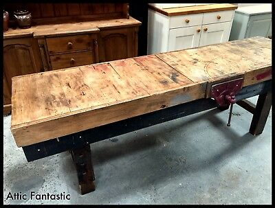Industrial Vintage Joiners Factory Workbench Table. Kitchen Island, Shop Display