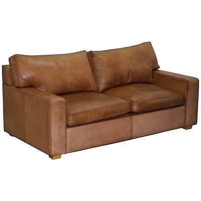 Rare Rrp £3400 Collin & Hayes Aged Brown Leather Sofabed Feather Filled Cushions