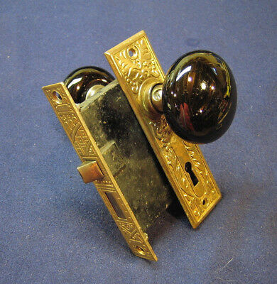 Antique Eastlake Passage Door Mortise Lock Black Porcelain Knobs - Corbin Ceylon