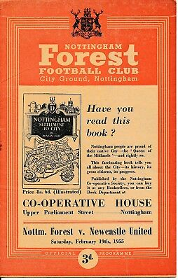 Nottingham Forest v Newcastle United (FA Cup) 1954/5 - Football Programme