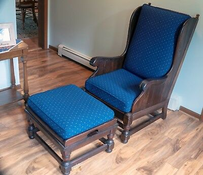 Vintage Ethan Allen Traditional Classics WING BACK Chair WITH OTTOMAN