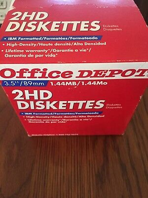 """Office Depot 2HD Floppy Diskettes 3.5"""" 1.44MB High Density (25) New in Box"""