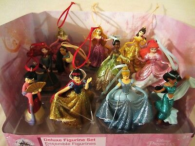 Disney Sparkling Deluxe Princess Ariel Cinderella Belle Christmas Ornament Set