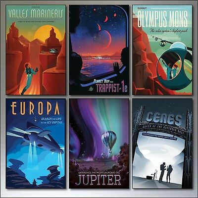 Mid Century Space Travel Vintage Retro Posters Fridge Magnets set of 6.