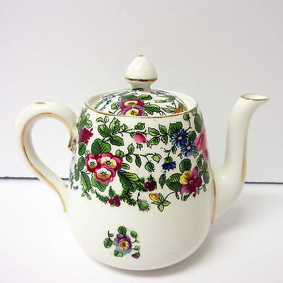 Antique China Ceramic Teapot Crown Staffordshire Thousand Flowers Tea For One