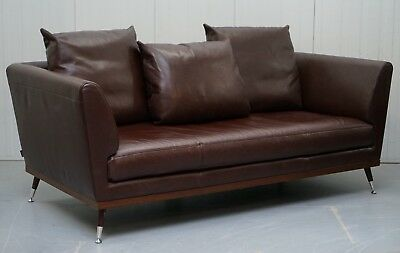 Rrp £7999 Ligne Roset Fugue Brown Leather Sofa Feather Cushions Didier Gomez