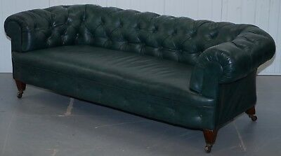 Restored Victorian 1890 Cornelius V Smith Chesterfield Leather Sofa Coil Sprung