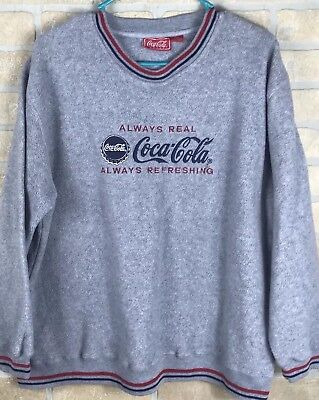 coca cola large gray  Long sleeve Sweater spell out gr
