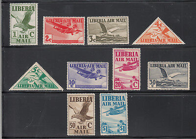 Liberia # C4-13 MNH 1938 Airmail Set Fauna Bird Triangle
