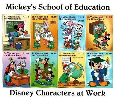 St. Vincent & the Grenadines - Disney 1996 Mickey's School of Education Stamps